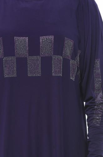 Big Size Strass Printed Dress Purple 2225-03