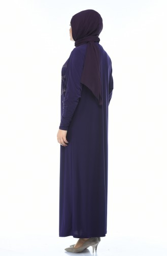فستان مزين بالستراس مقاس كبير بنفسجي 2226-01