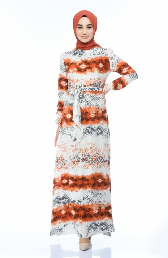 فستان قطني منقوش سكري وقرميدي 60059-01