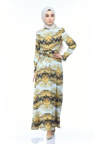 فستان قطني منقوش خردلي وأزرق 60061-01
