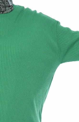 Yırtmaçlı Triko Tunik 4410-09 Çimen Yeşili 4410-09