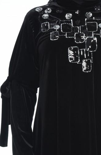 تونيك مخمل مقاس كبير أسود 8045-01