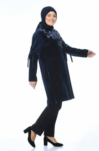 Büyük Beden Kadife Tunik 8045-04 Lacivert