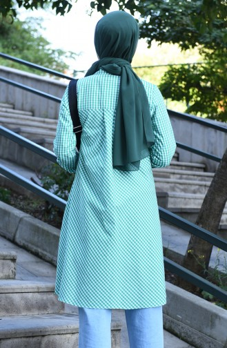 Buttoned plaid Tunic Green 8017-01
