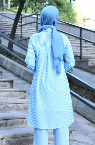 Buttoned plaid Tunic Blue 8017-03