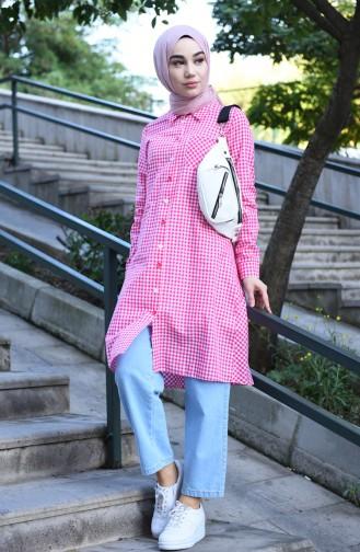 Buttoned plaid Tunic Fuchsia 8017-05