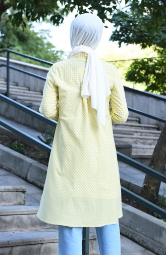 Buttoned plaid Tunic Yellow 8017-06