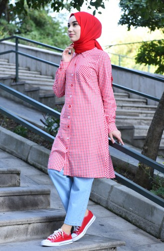 Buttoned plaid Tunic Pomegranate Flower 8017-07