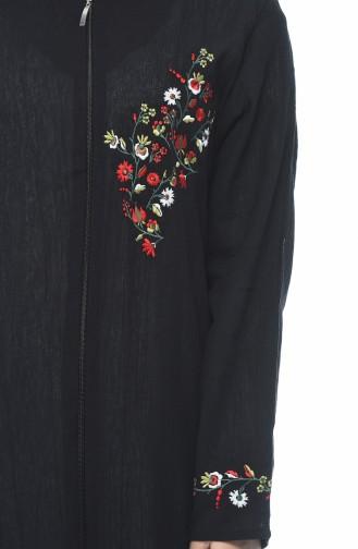 Abaya mit Reissverschluss aus Şile-Stoff 0606-01 Schwarz 0606-01
