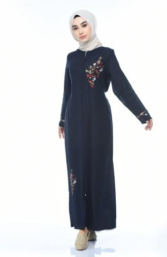 Zippered Abaya Navy Blue 0606-02