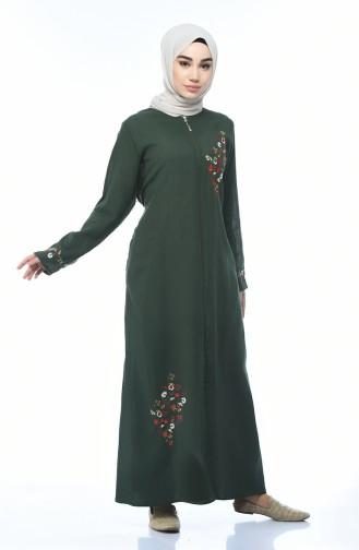 Zippered Abaya Khaki 0606-03