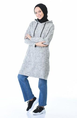 Kapüşonlu Kışlık Sweatshirt 9146-01 Gri 9146-01