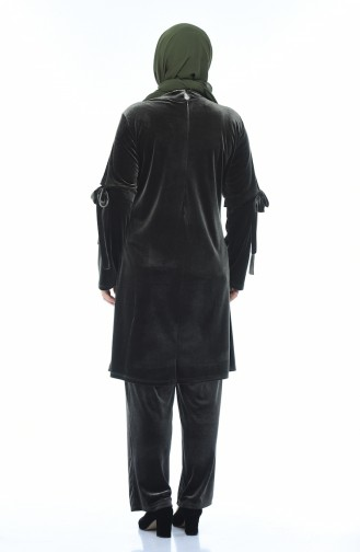 Big Size Embroidered Velvet Tunic Trousers Double Set Khaki 8041-06