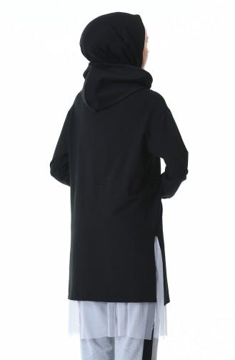 بدلة رياضية بقبعة أسود ورمادي 0307-01