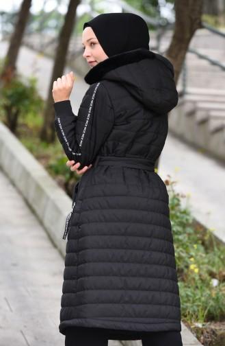 Gefütterter Mantel mit Gürtel 511419-03 Schwarz 511419-03