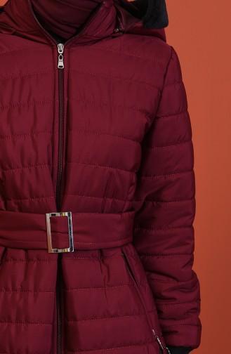 معطف بحزام مبطن أحمر كلاريت 511419-04