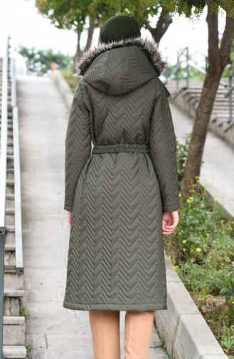 Hooded Quilted Coat Khaki 5131-03