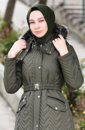 معطف بقبعة مبطن كاكي 5131-03