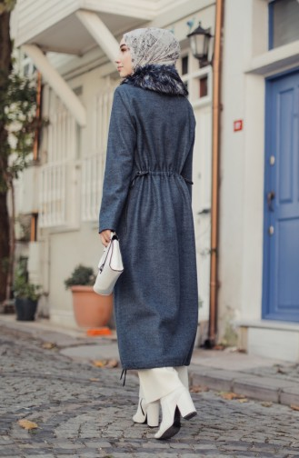 Fur Lined Coat Indigo 35847-01