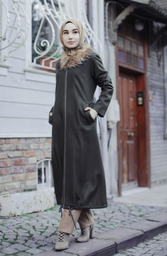 Khaki Long Coat 35847-02