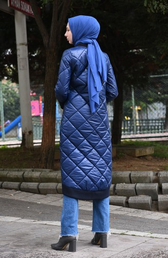 Zippered Quilted Coat Indigo 35848-03
