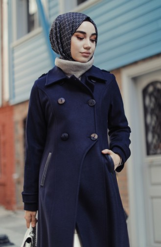 Buttoned Coat Navy Blue 35856-01