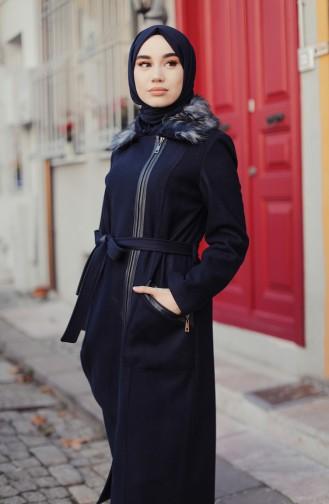 Fur Coat Navy Blue 35859-03