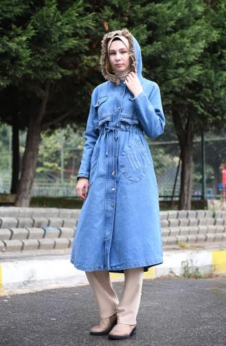 Gefallte Jeans Cape 9493-01 Jeans Blau 9493-01