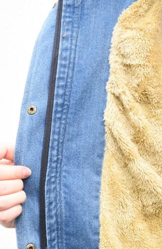 جاكيت جينز مبطن بالفرو أزرق جينز 9570-01
