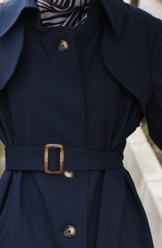 Belted Short Trench Coat Navy Blue 90005-03