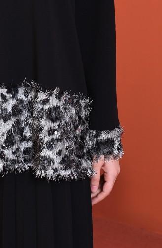 Tasseled Blouse Skirt Double Set Black 1001-01
