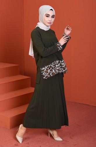 Tasseled Blouse Skirt Double Set Khaki 1001-02