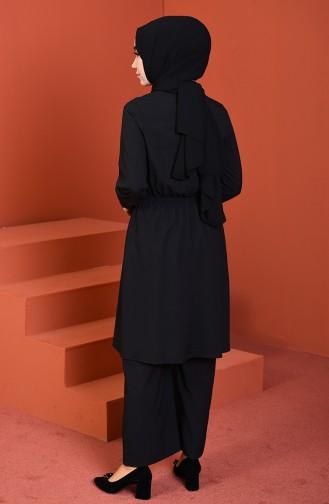 Beli Lastikli Tunik Pantolon İkili Takım 1205-01 Siyah 1205-01