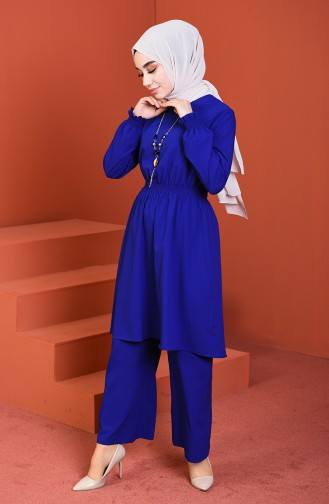 Beli Lastikli Tunik Pantolon İkili Takım 1205-05 Saks