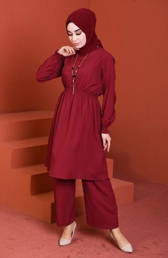 Beli Lastikli Tunik Pantolon İkili Takım 1205-06 Vişne 1205-06