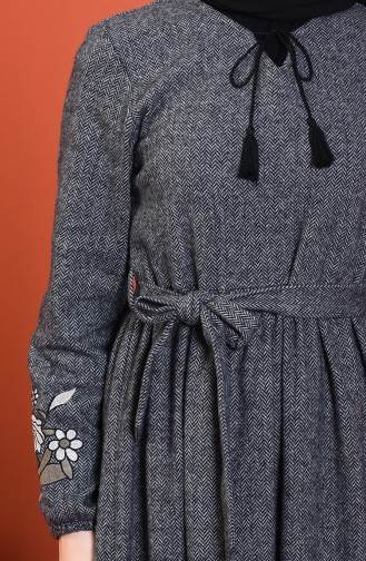 Sleeve Embroidered Dress Gray 0330-02