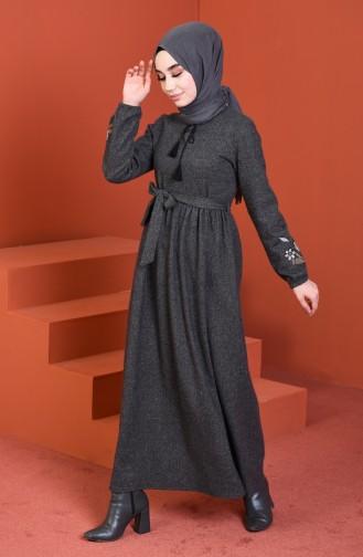 Sleeve Embroidered Dress Smoky 0330-04