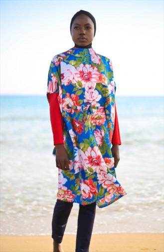 ملابس سباحة شرعية منقوشة بالأزهار كحلي 1990-01