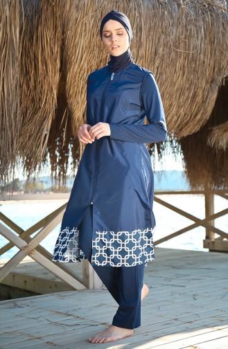 Geraffter Hijab Badeanzug 1997-01 Dunkelblau 1997-01