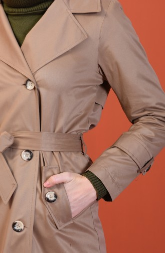 Buttoned Long Trench Coat Mink 508919-01