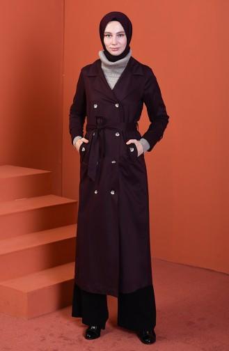 معطف طويل بأزرار عنابي داكن 508919-04