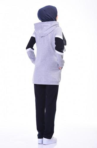بدلة رياضية بسحاب رمادي 9108-01