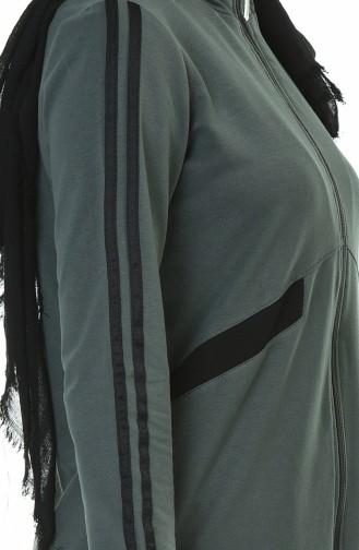 Zippered Sports Abaya Khaki 9107-01