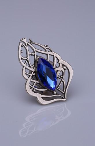 Saks Mavisi Kristal Gümüş Kaplama Mıknatıslı Broş 05-0928-32-12
