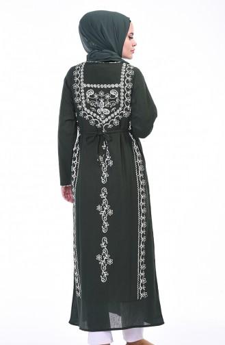 Bedruckte Lange Tunika aus Şile-Stoff 0211-01 Khaki 0211-01