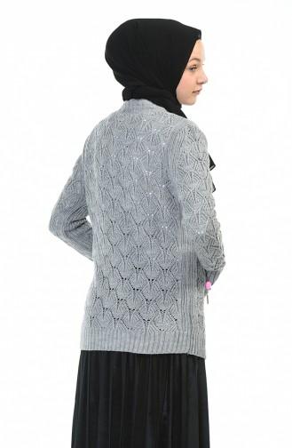Tricot Zipper Cardigan Gray 1071-03
