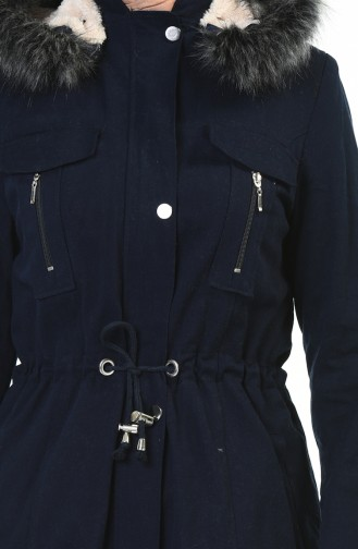معطف مزموم الخصر كحلي 9011-02