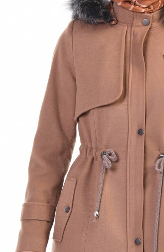 Waist Shirred Lined Coat Biscuit Color 9012-01