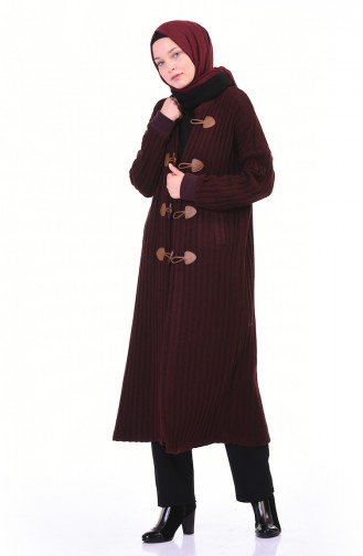 Tricot Long Cardigan Dark Bordeaux 35967-03