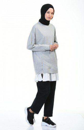 Zipper Detailed Sweatshirt Gray 0755-05